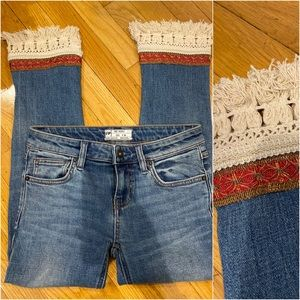 Free People Cropped Jeans with Crochet Fringe hem